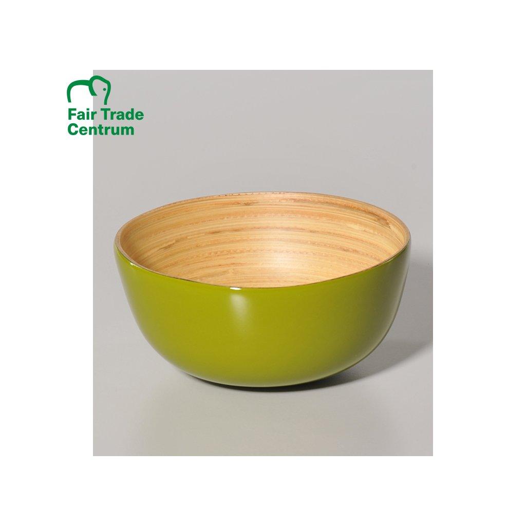 Bambusová miska z Vietnamu, zelená, 13 cm