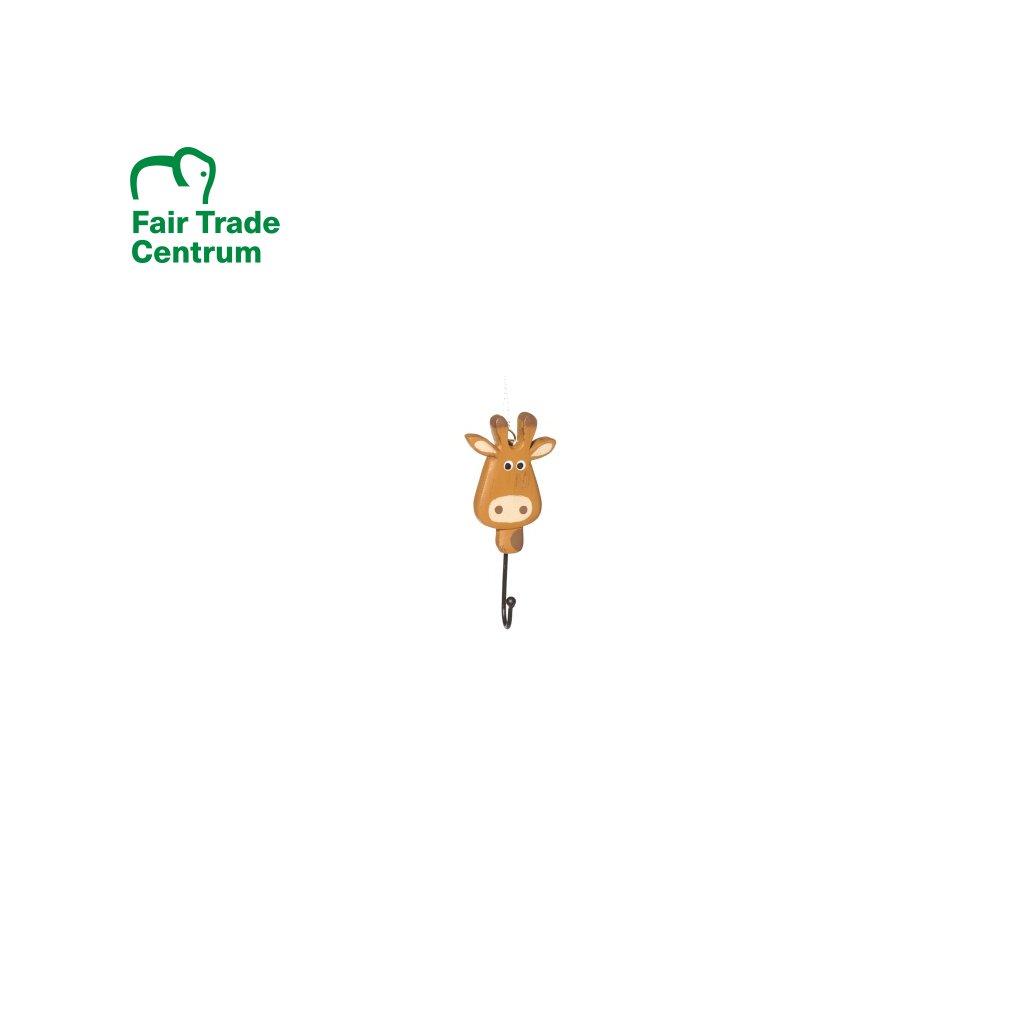 Háček s žirafou ze dřeva astonie z Indonésie, 13 cm