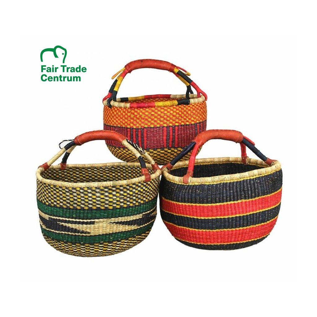 Velký fair trade bolga koš z Ghany, různé barvy