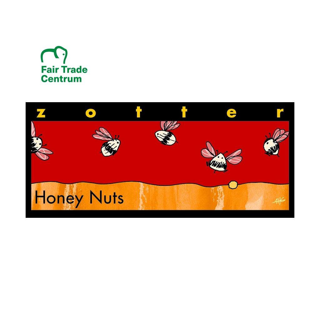 Fair trade bio mléčná čokoláda Zotter Oříšky a mandle v medu