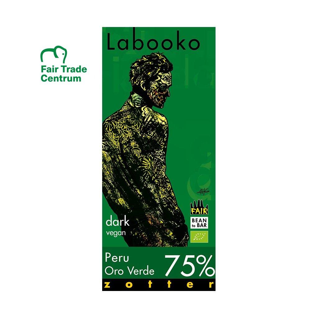 Fair trade bio hořká čokoláda Zotter Labooko Peru Oro Verde 75 % kakaa