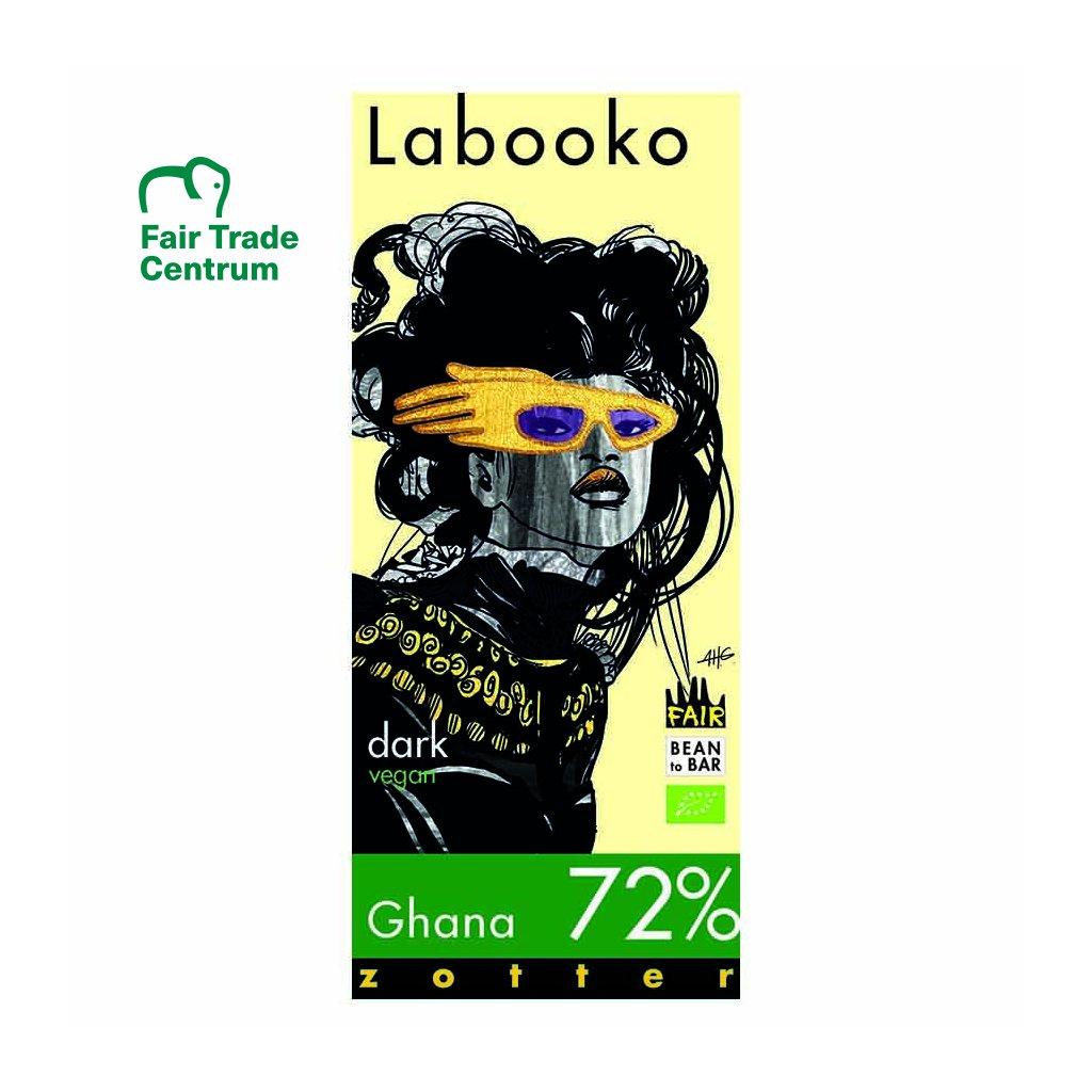 Fair trade bio hořká čokoláda Zotter Labooko Ghana 72 % kakaa