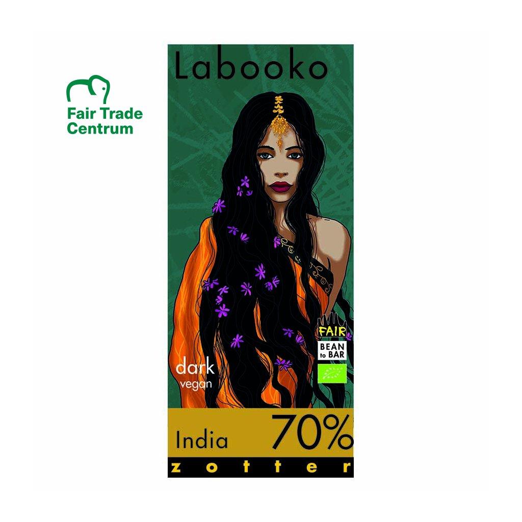 Fair trade bio hořká čokoláda Zotter Labooko Indie 70 % kakaa