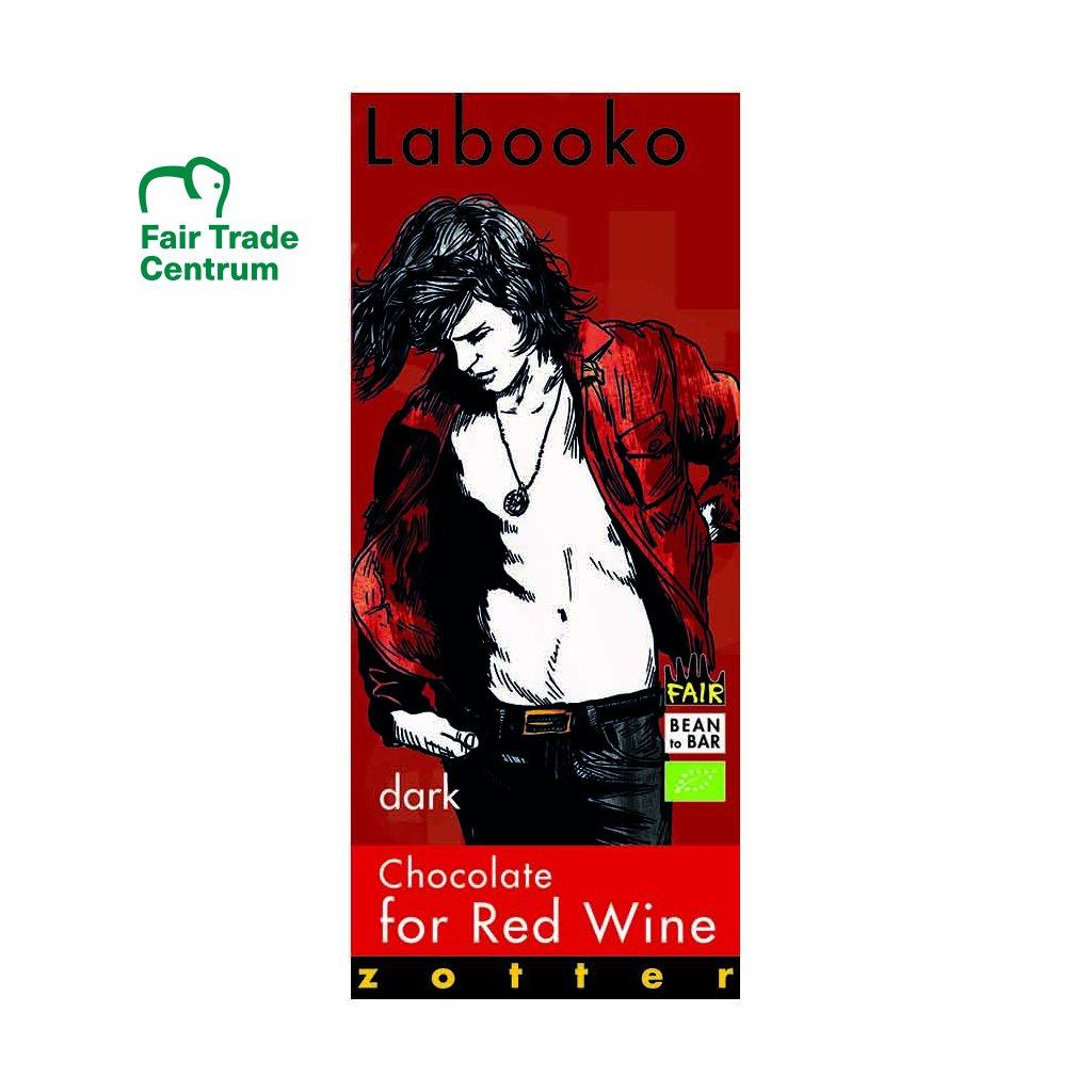 Fair trade bio hořká čokoláda Zotter k červenému vínu, 75 % kakaa