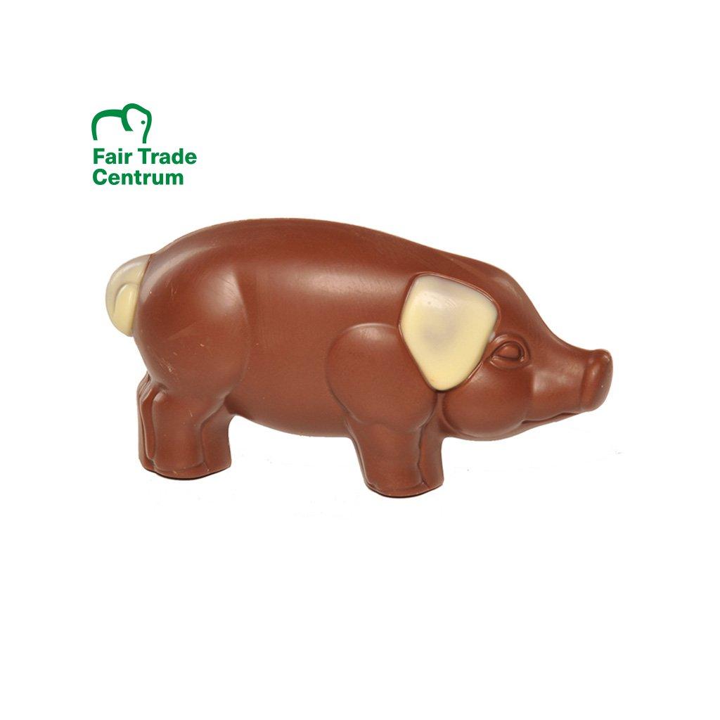 Fairtrade vánoční prasátko štěstí z bio mléčné čokolády