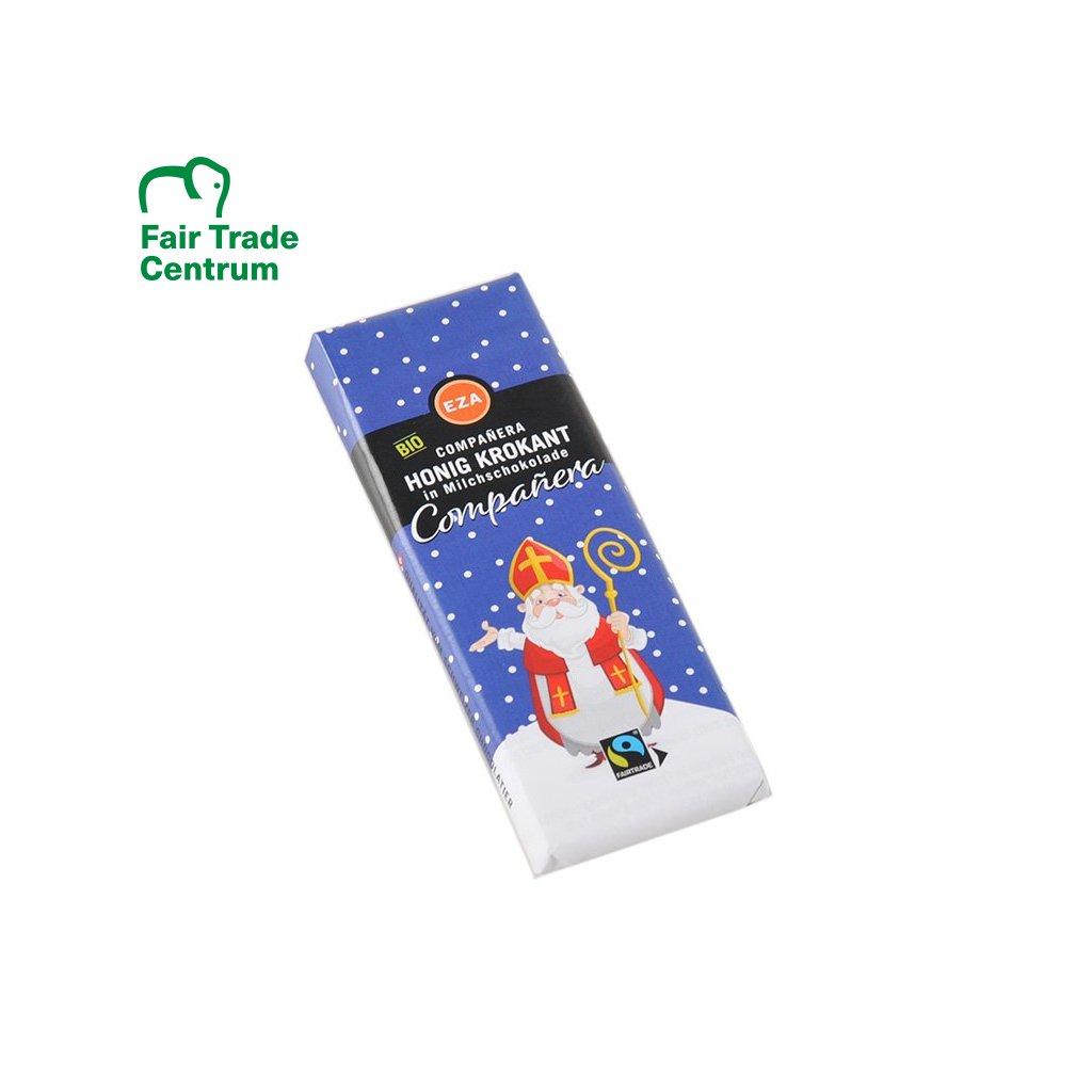 Fair trade bio mléčná medová čokoláda Mikuláš