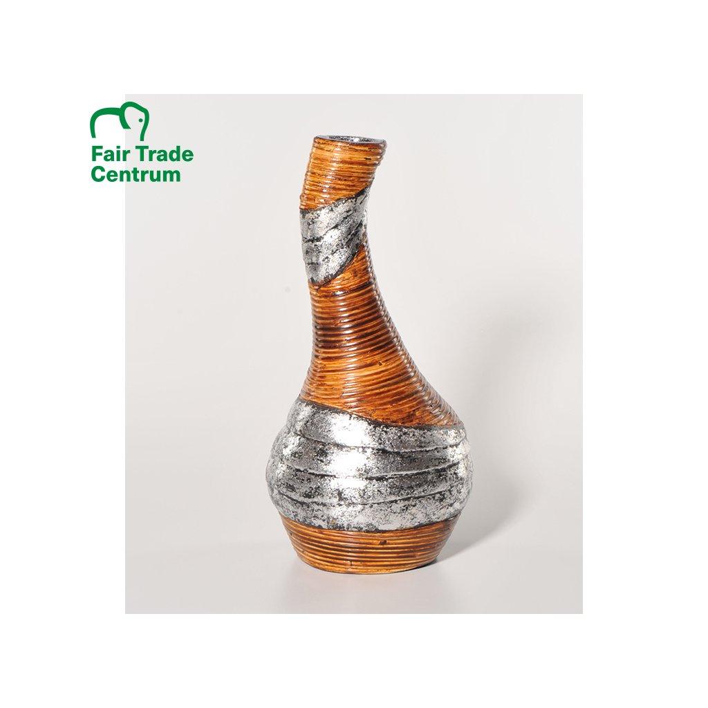 Fair trade ručně dělaná terakotová váza s ratanem z Indonésie