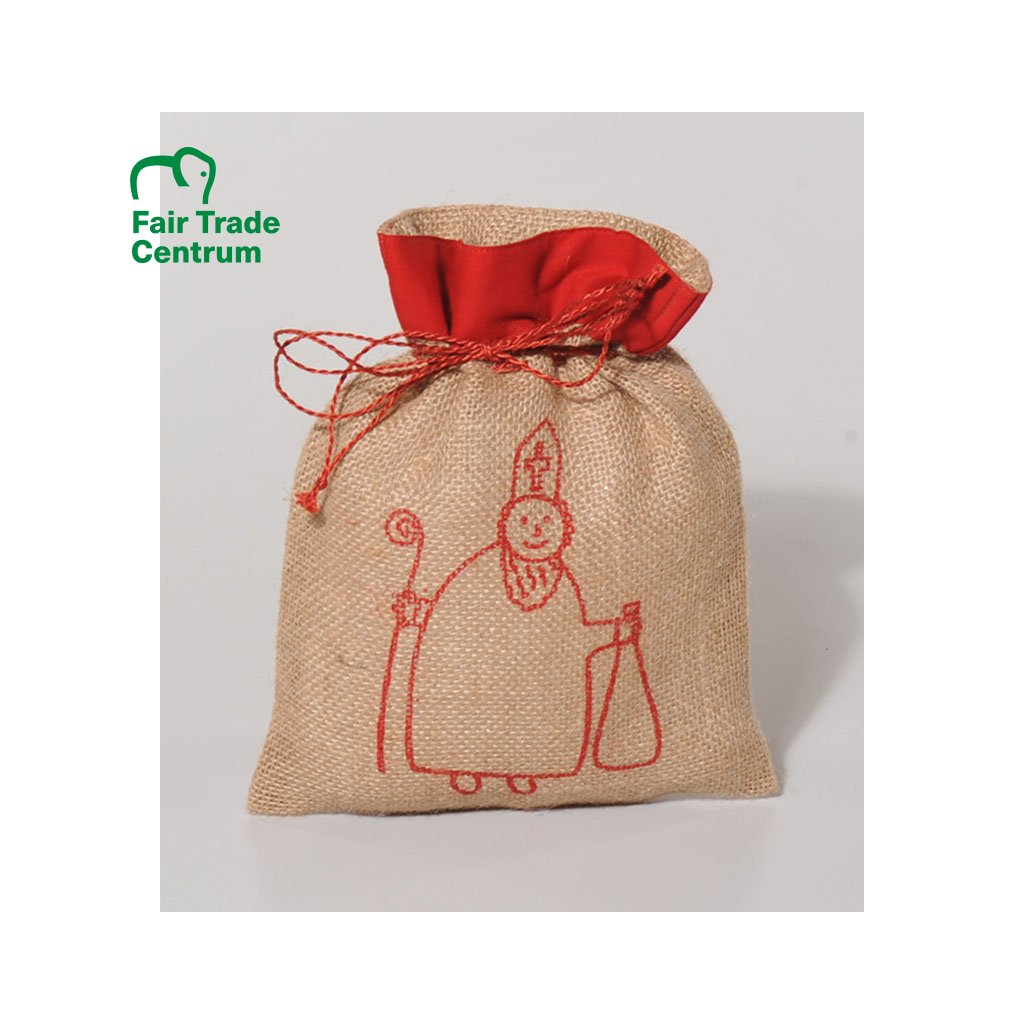 Fair trade jutový sáček na dárky s Mikulášem z Bangladéše