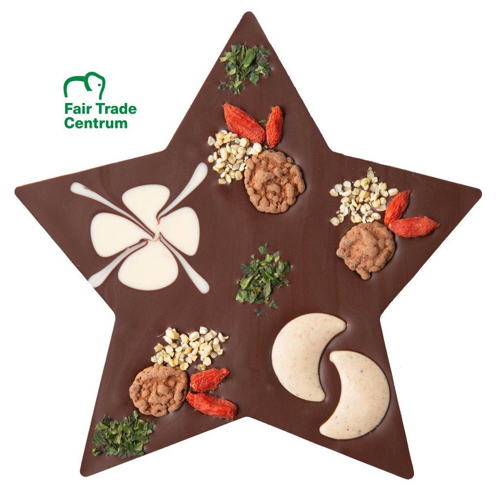 Fair trade bio vánoční hvězda z hořké čokolády Zotter s lískovými oříšky, 100 g
