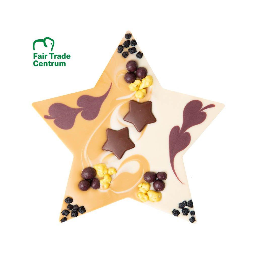 Fair trade bio vánoční čokoládová hvězda Zotter s mandlovým nugátem
