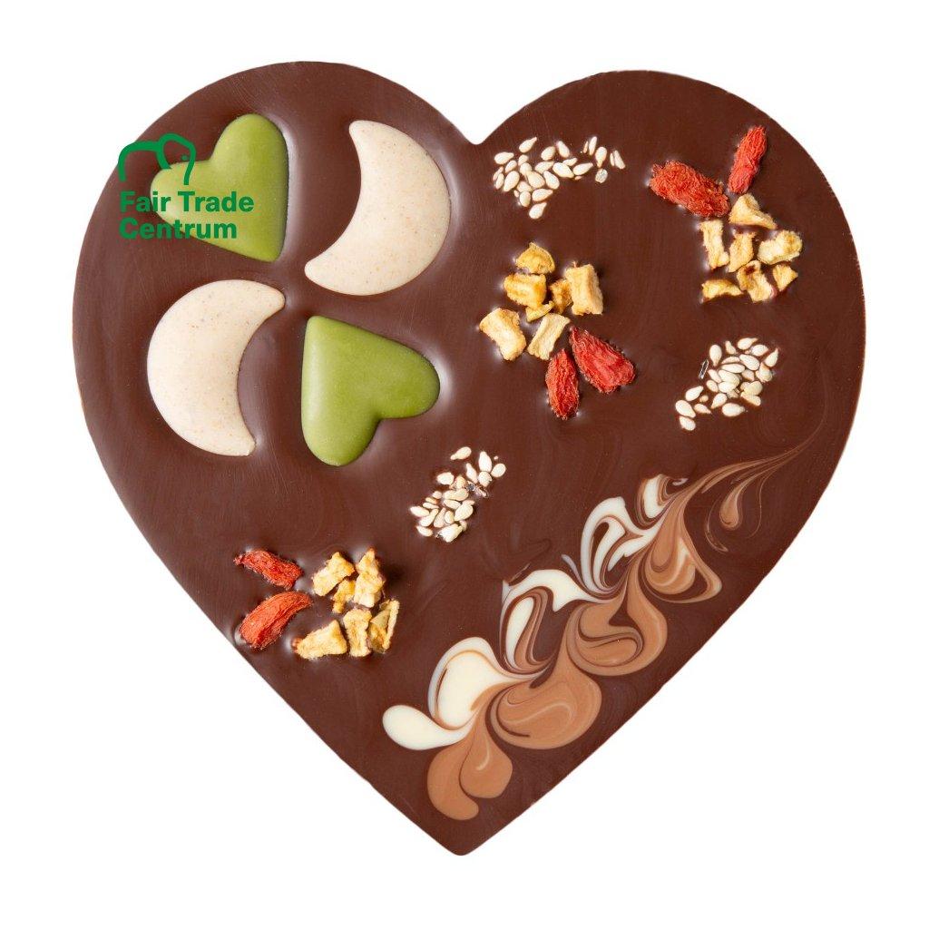 Fair trade bio vánoční srdce z hořké čokolády Zotter s vlašskými ořechy, 100 g