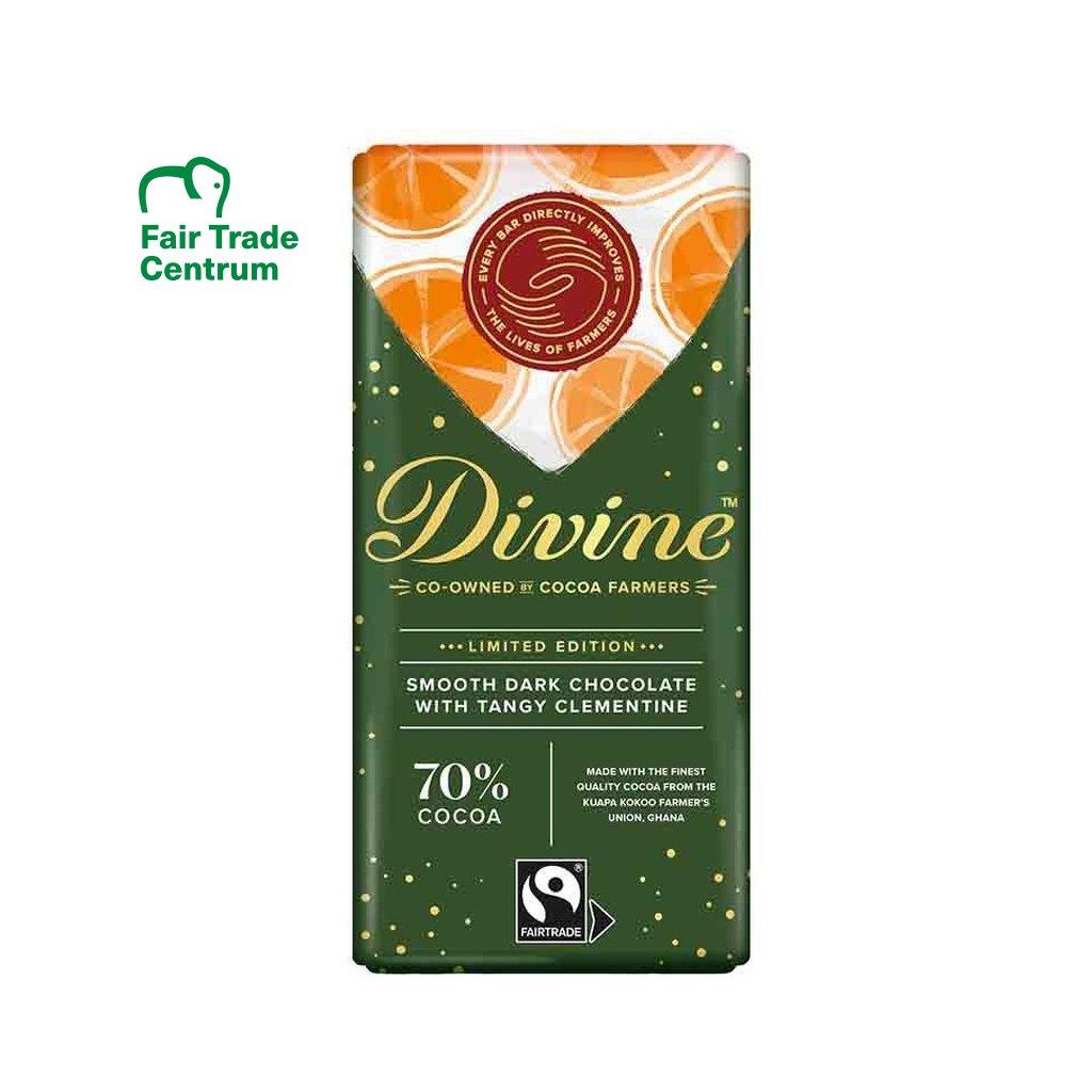 Vánoční Fairtrade hořká čokoláda s mandarinkovým olejem Divine, 90 g