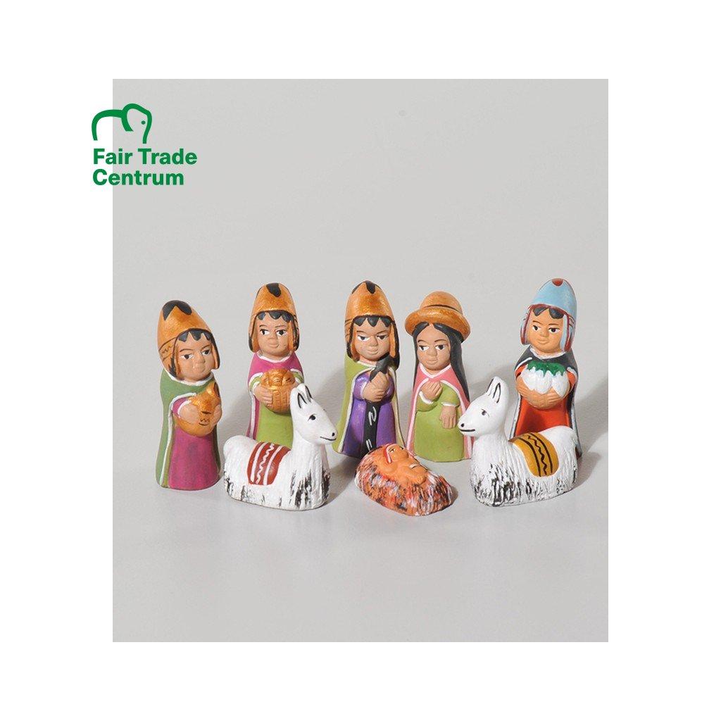 Fair trade betlém se třemi králi z keramiky z Peru, ručně vyrobený