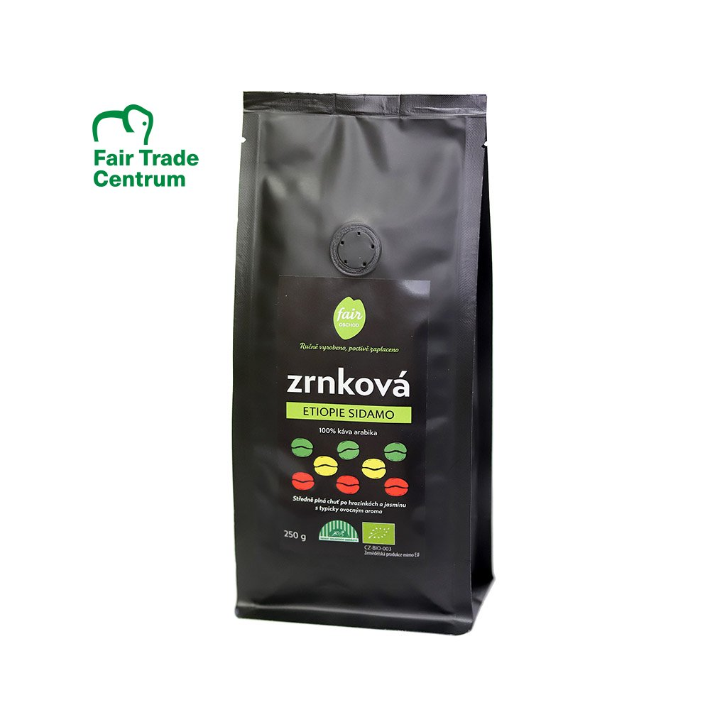 Fair trade bio zrnková káva Etiopie Sidamo, 250 g