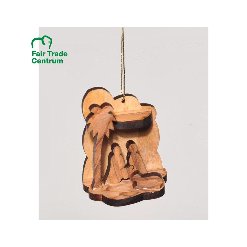 Fair trade betlém z olivového dřeva z Palestiny, ručně řezaný