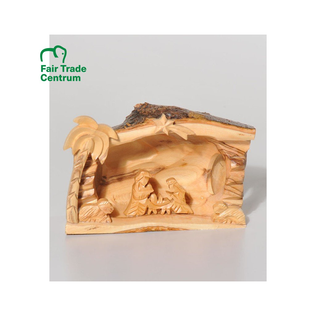 Fair trade ručně dělaný betlém z olivového dřeva s kůrou z Palestiny