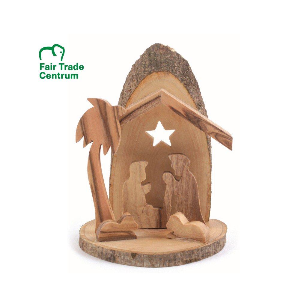 Fair trade ručně dělaný betlém z olivového dřeva s hvězdou a kůrou z Palestiny