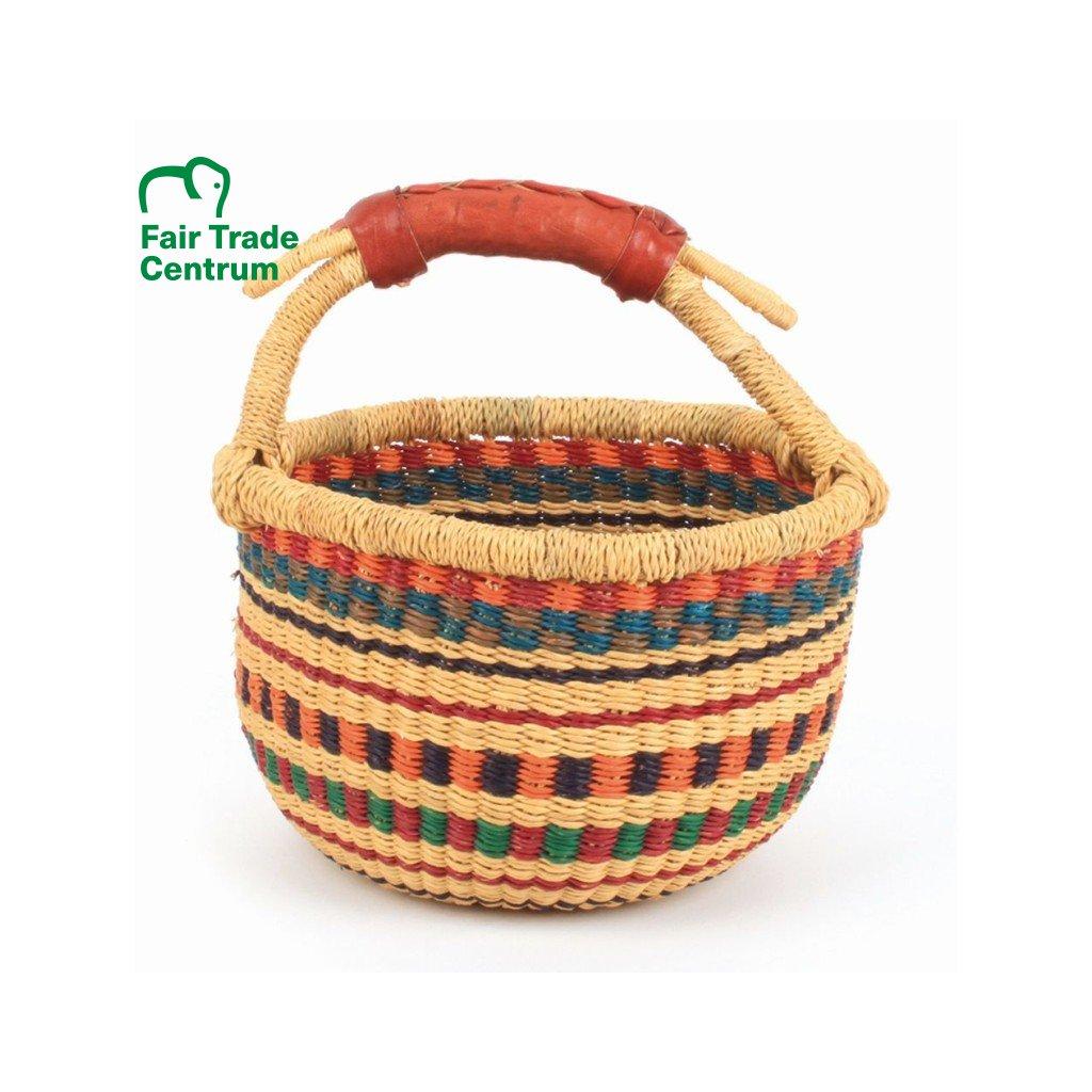 Fair trade ručně pletený malý bolga košík z Ghany