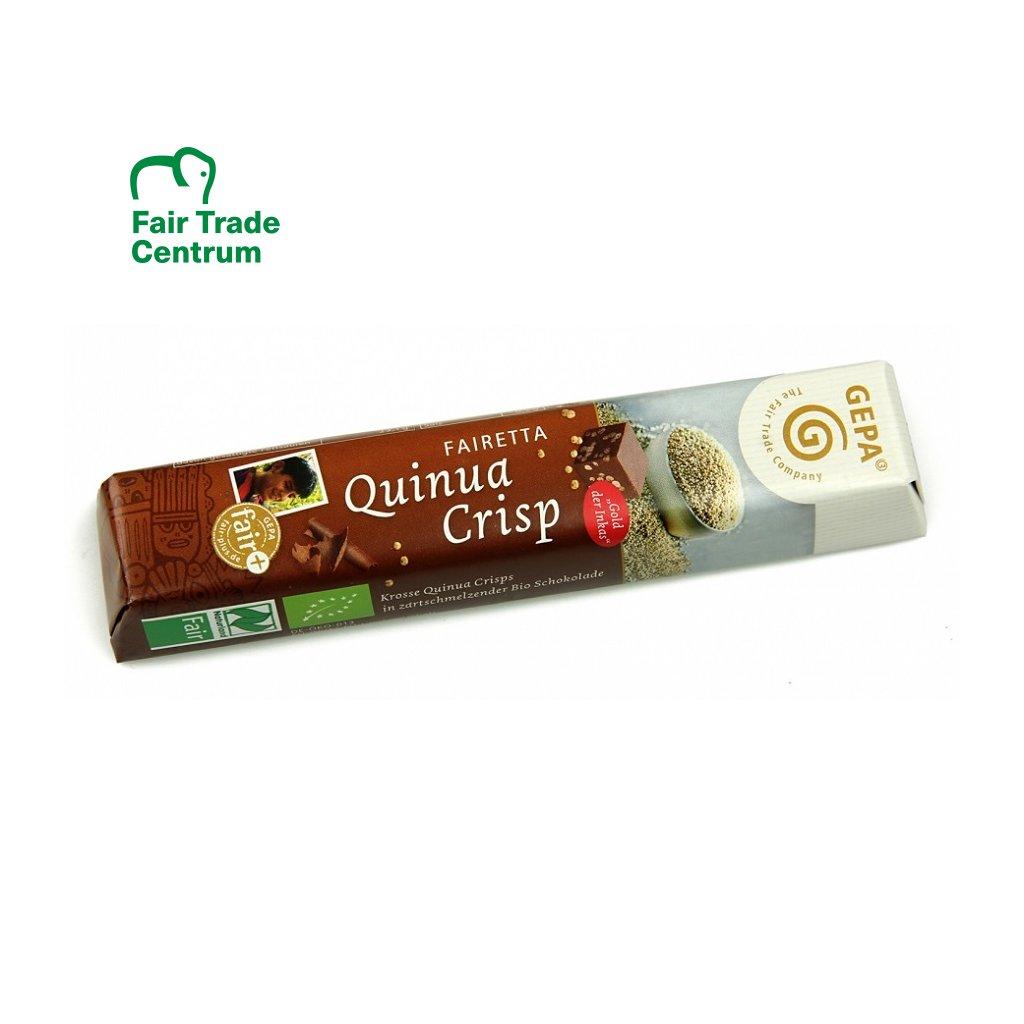 Fair Trade bio mléčná čokoládová tyčinka s quinoa křupinkami