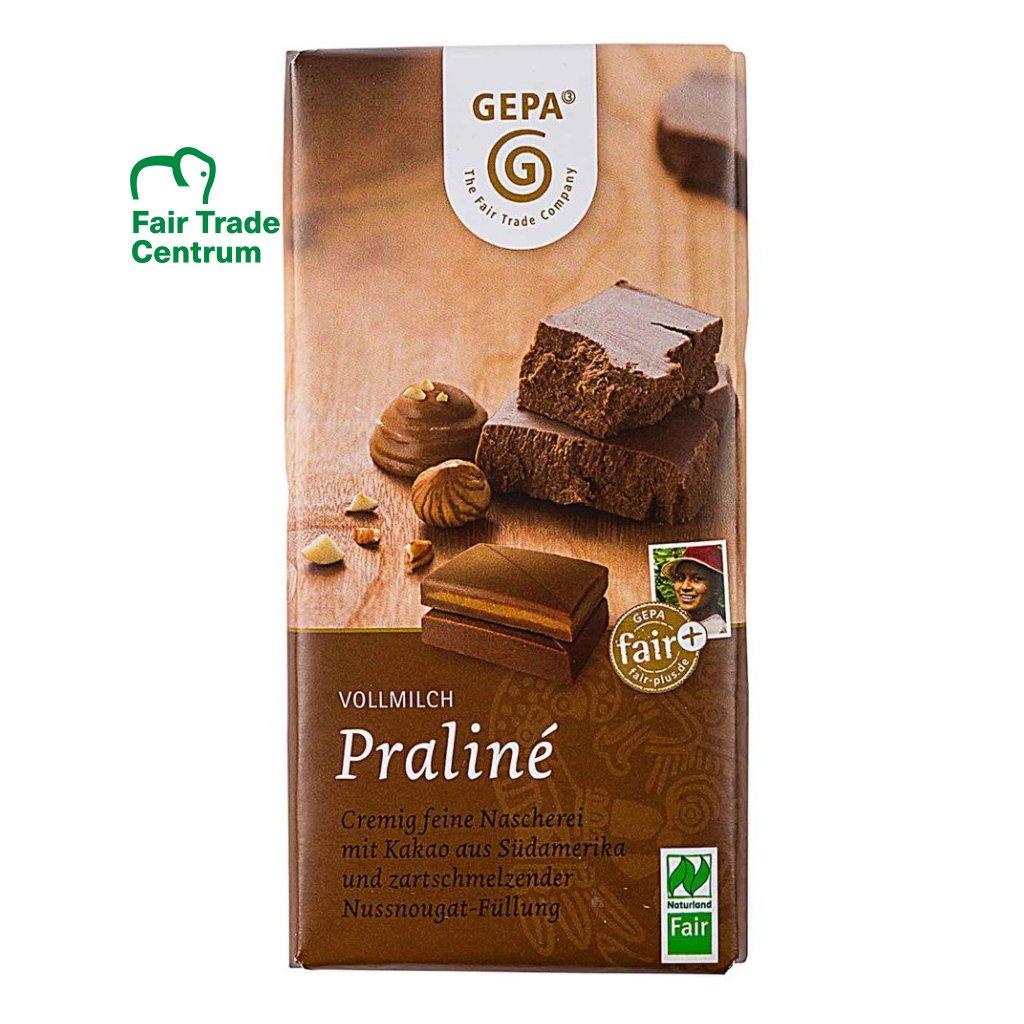 Fair trade bio pralinková mléčná čokoláda Gepa