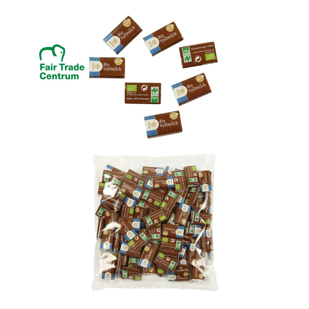 Fair Trade bio mini mléčné čokolády, 100x3 g