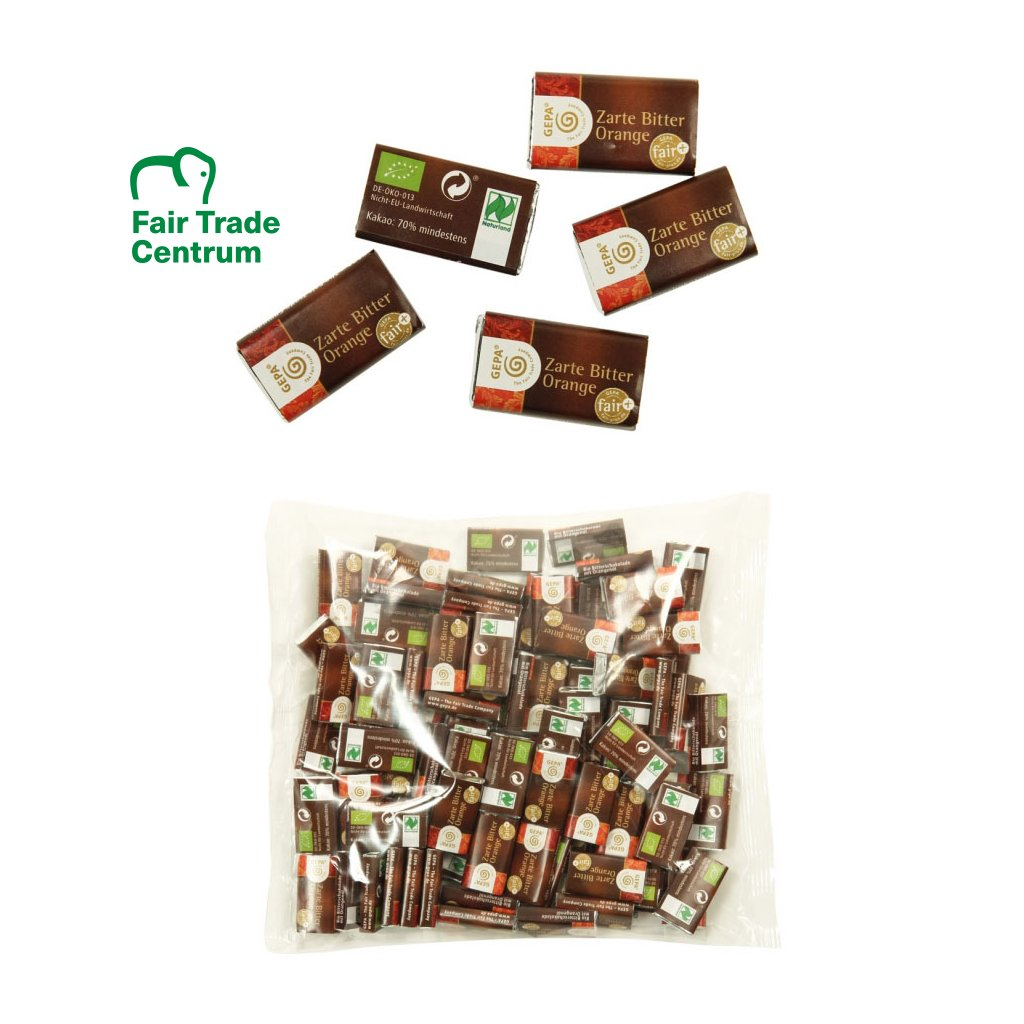 Fair Trade bio mini hořké čokolády s pomerančem, 100x3 g