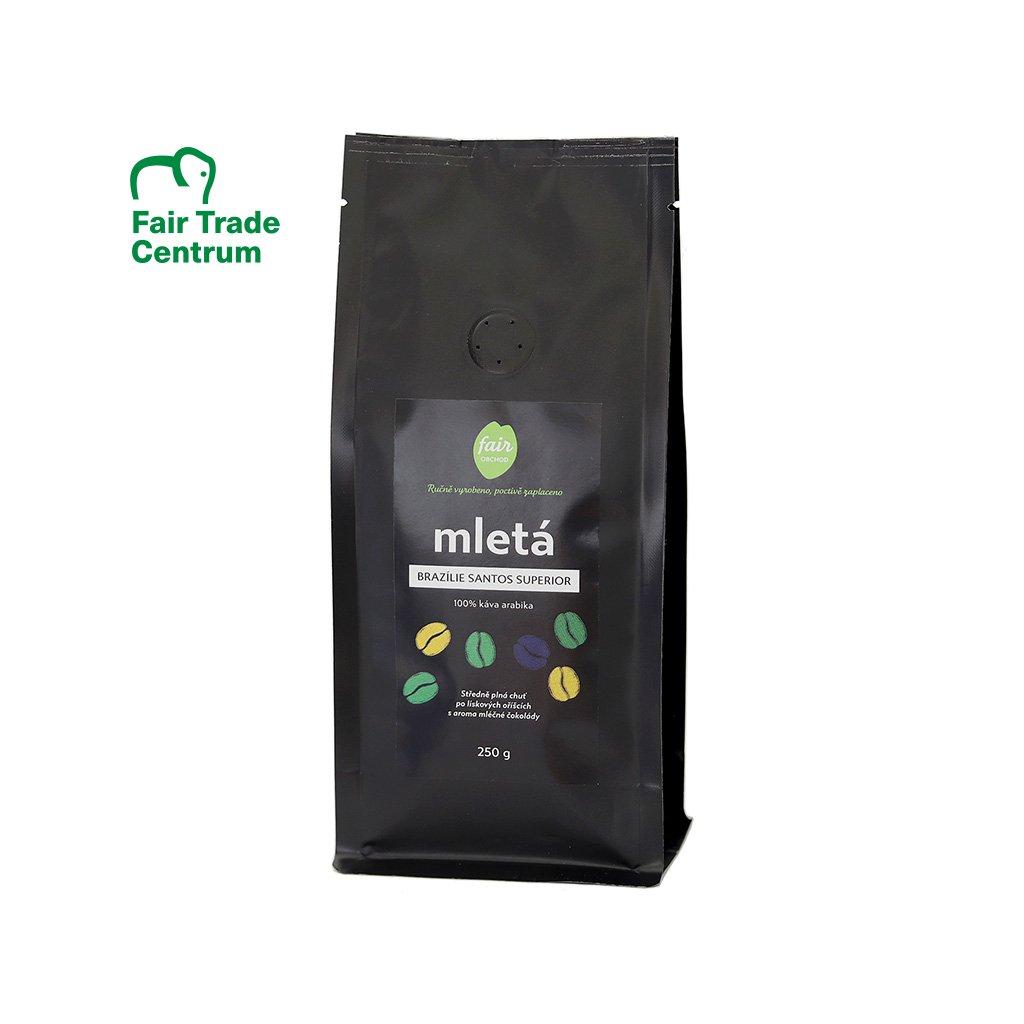 Fair trade mletá káva Brazílie Santos Superior, 250 g