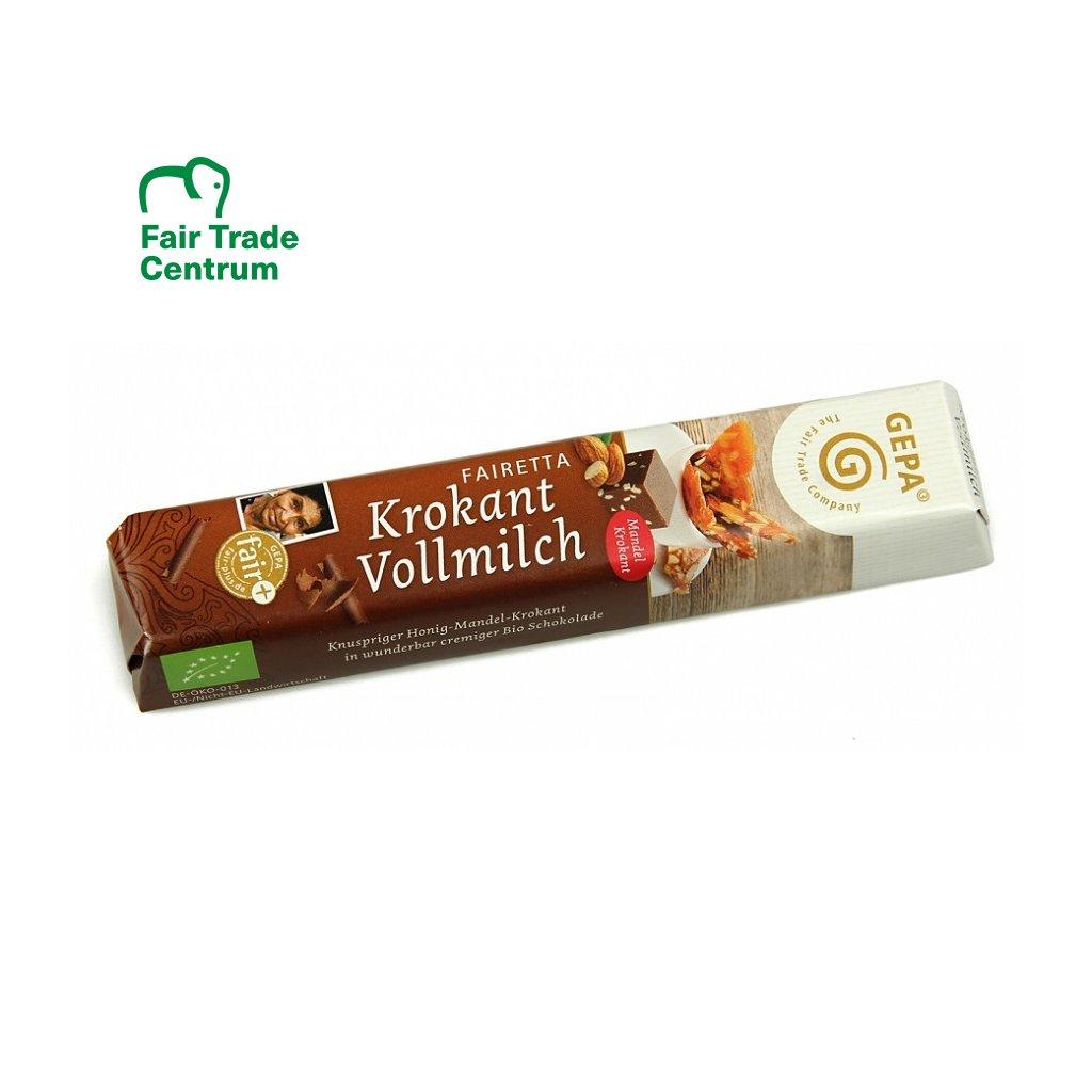 Fair Trade bio mléčná čokoládová tyčinka s medovo mandlovým krokantem