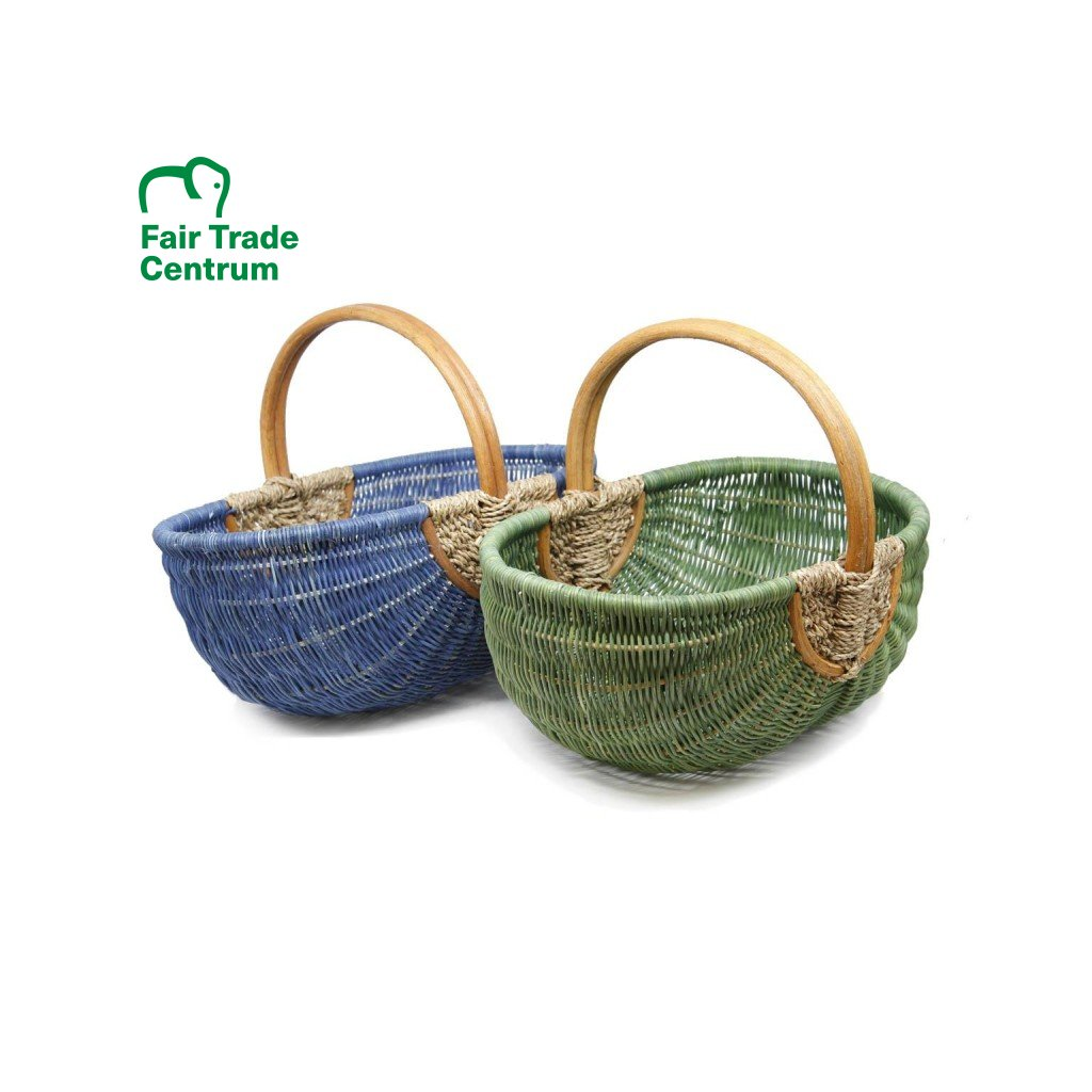 Fair trade proutěný nákupní koš kolébka z Vietnamu, zelený a modrý