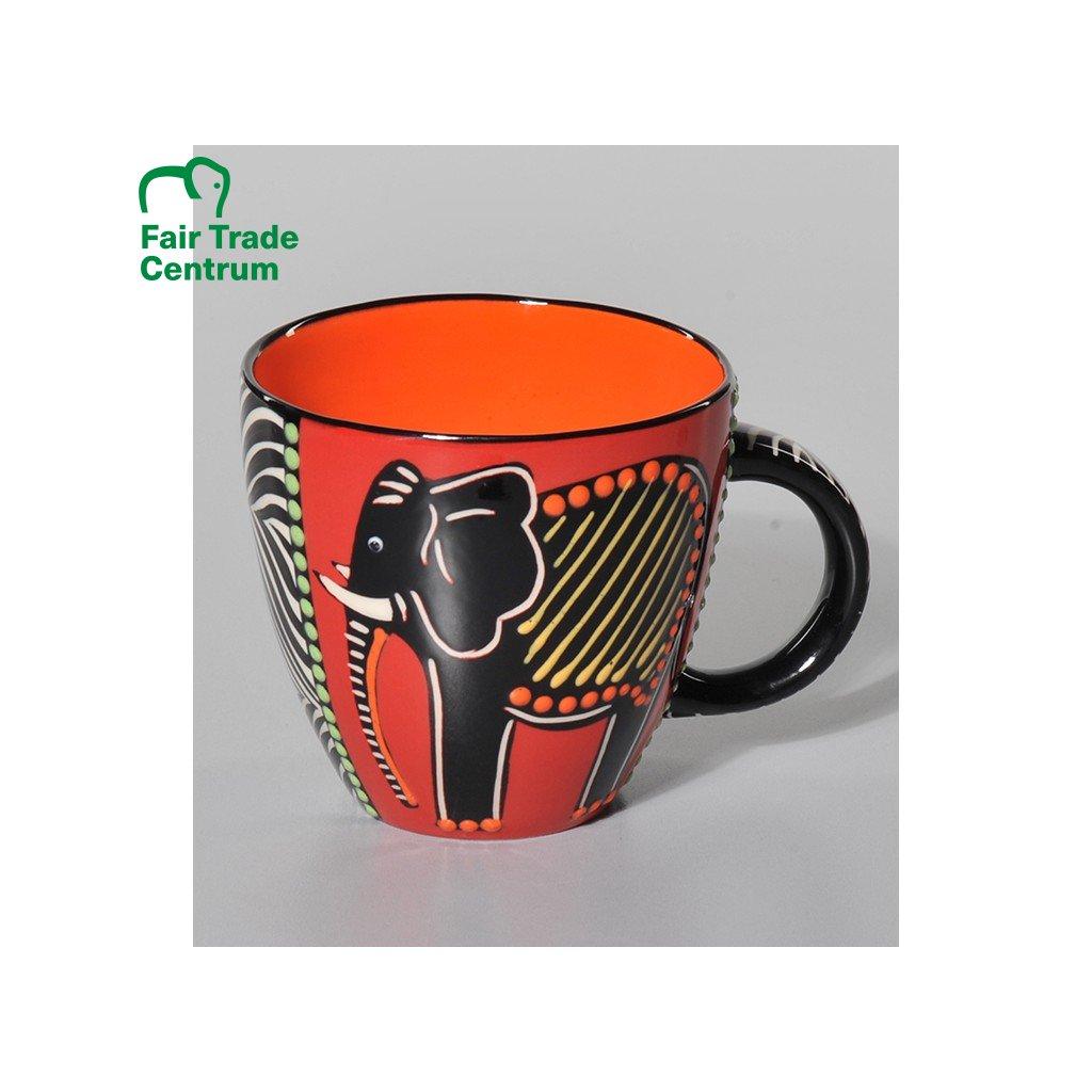 Fair trade ručně dělaný hrnek Lonwabo se slonem červený, 630 ml