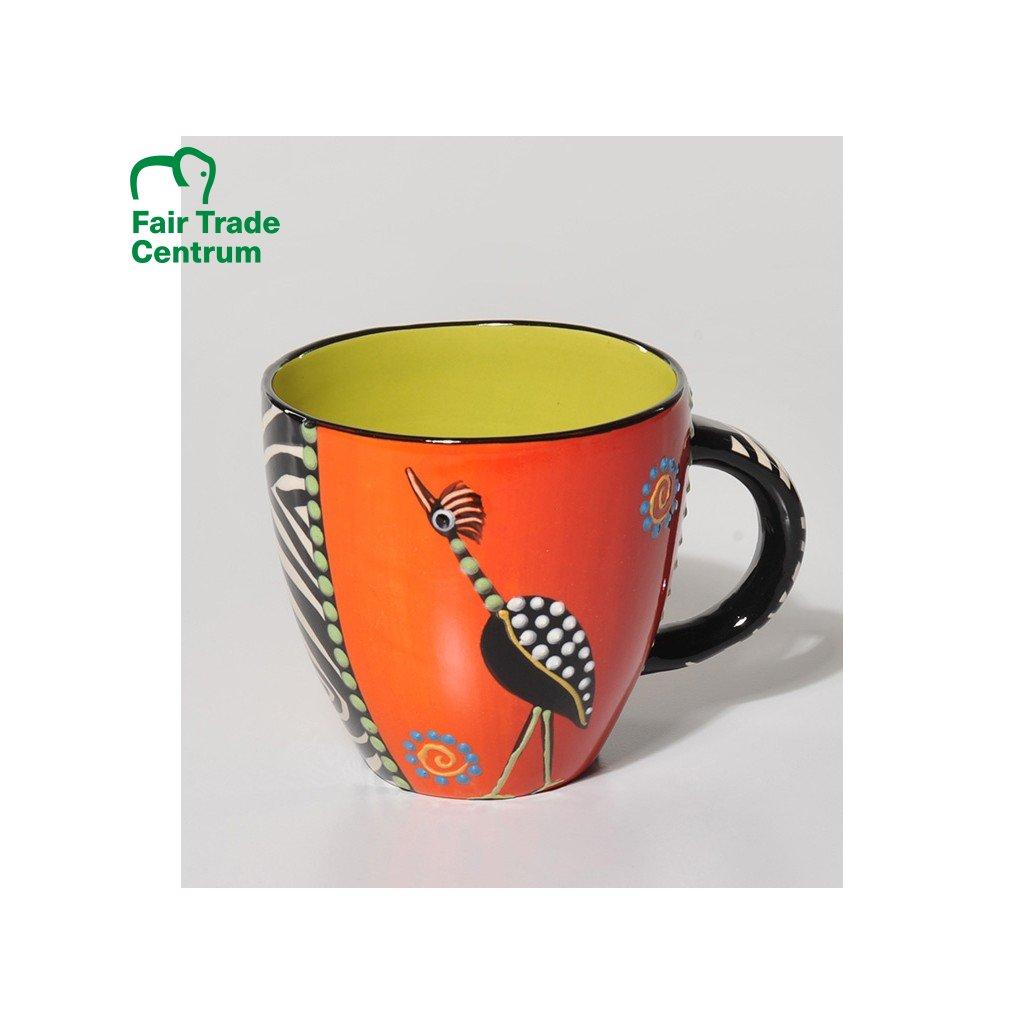 Fair trade ručně dělaný hrnek Lonwabo s jeřábem oranžový, 550 ml
