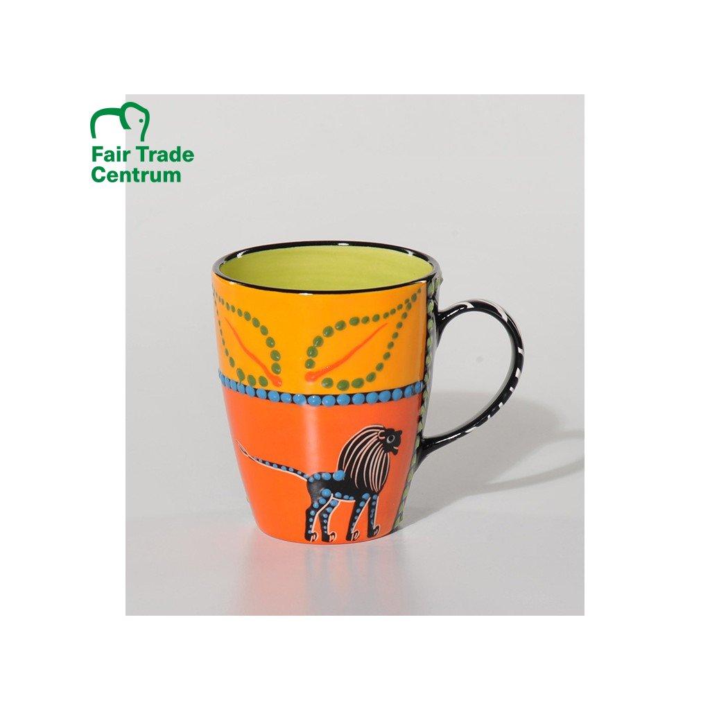 Fair trade ručně dělaný hrnek Abeni se lvem, 400 ml