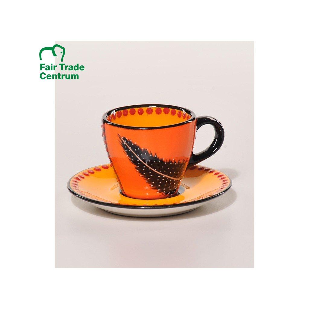 Fair trade ručně dělaný espresso šálek s peříčkem oranžový, 75 ml