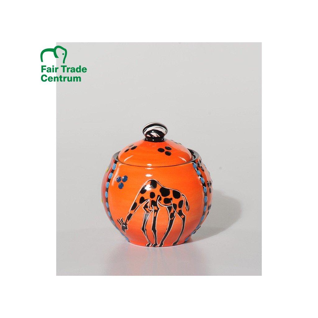 Fair trade ručně dělaná cukřenka s žirafou z Jihoafrické republiky, oranžová