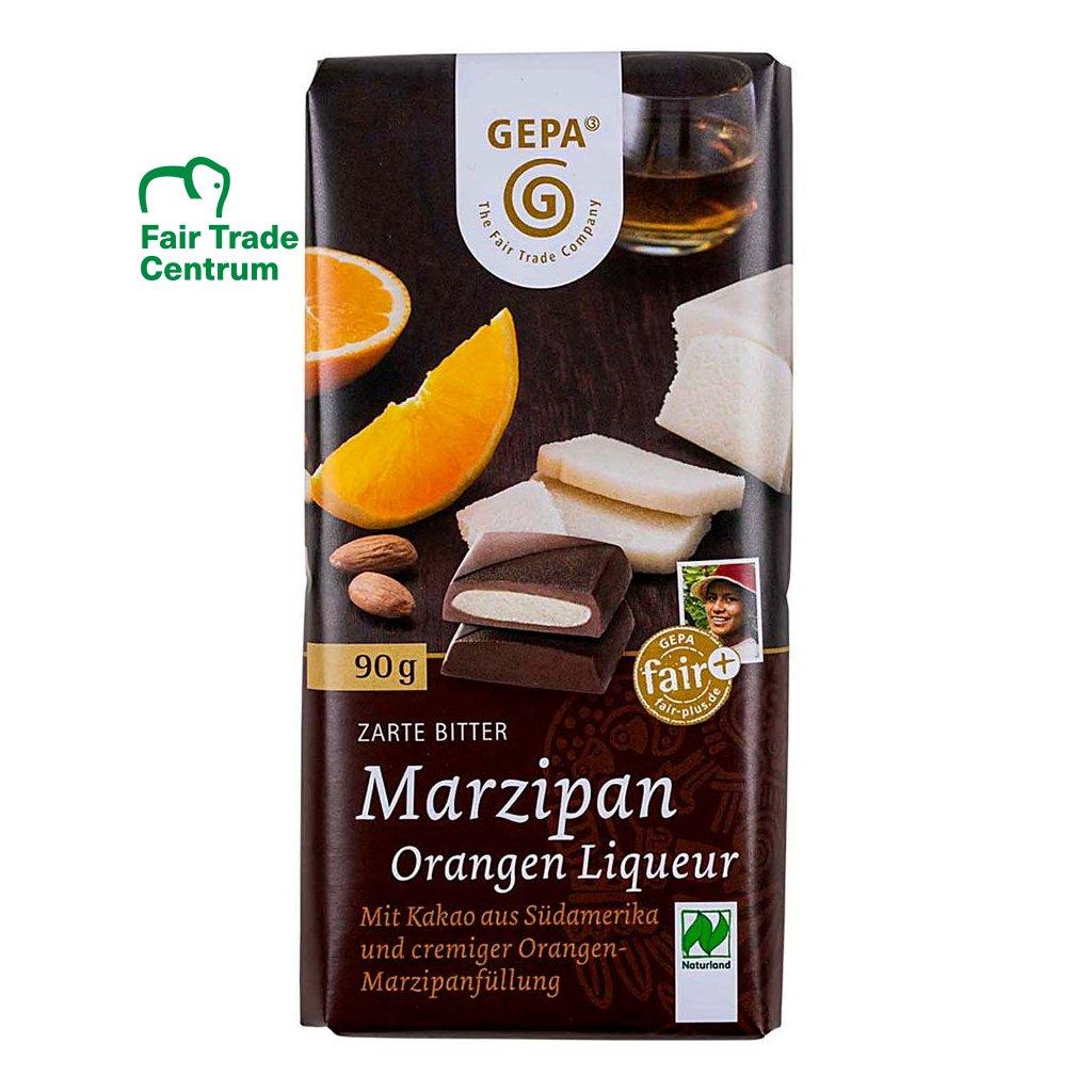Fair trade bio hořká čokoláda s marcipánem a pomerančovým likérem, 90 g