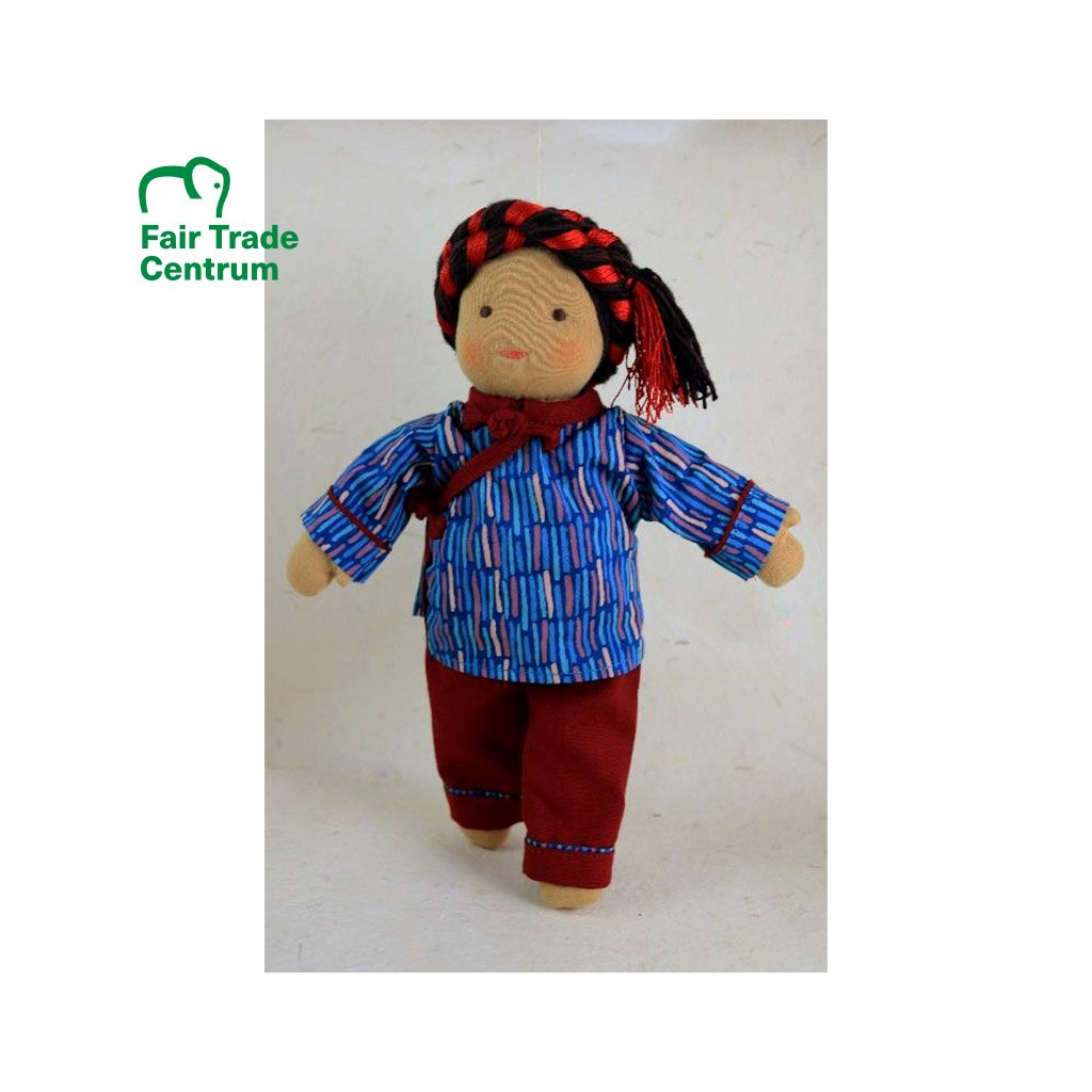 Fair trade ručně šitá hadrová panenka Dolls4Tibet Norbu