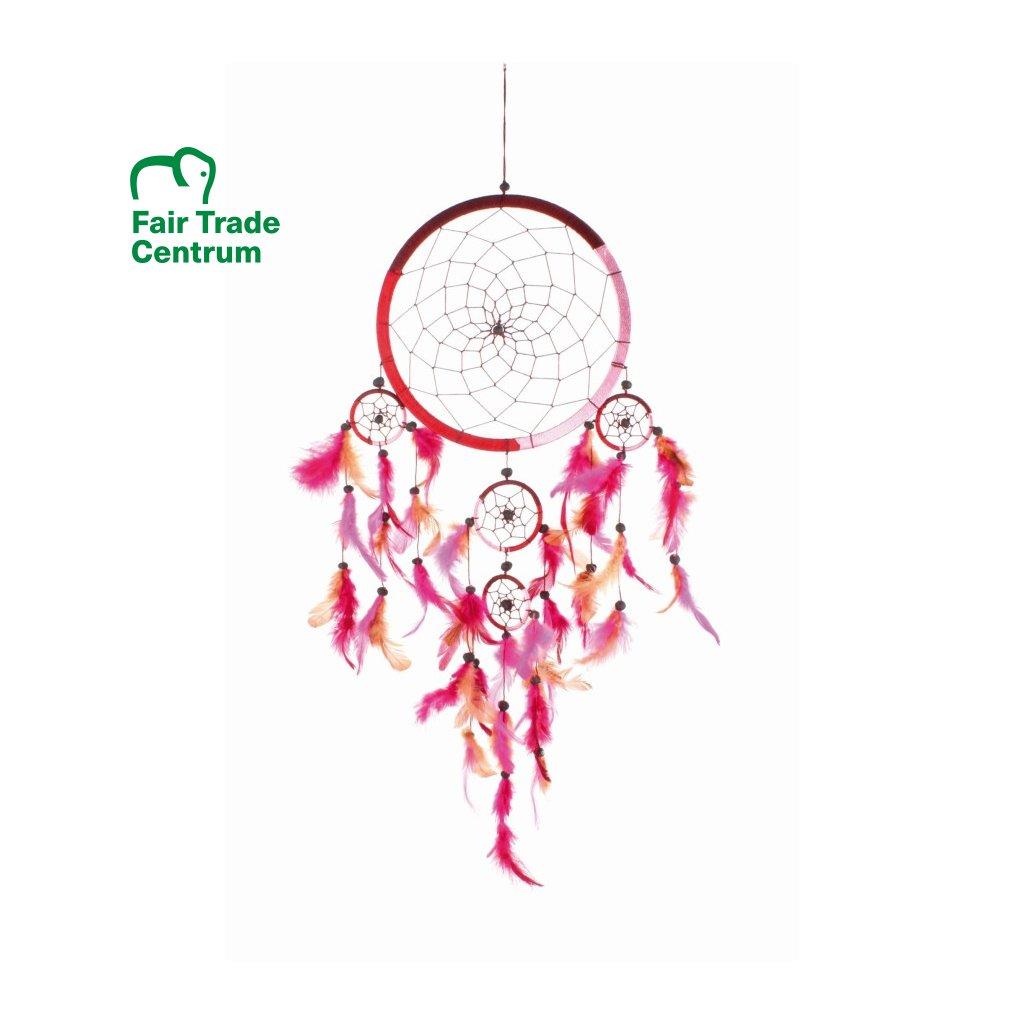 Fair trade ručně dělaný lapač snů růžový 72 cm