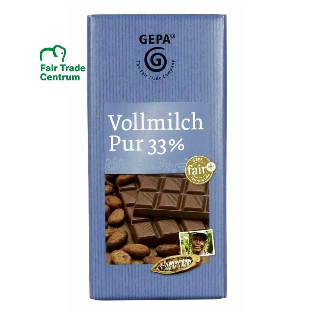 Fair Trade mléčná čokoláda s 33 % kakaa z Kamerunu