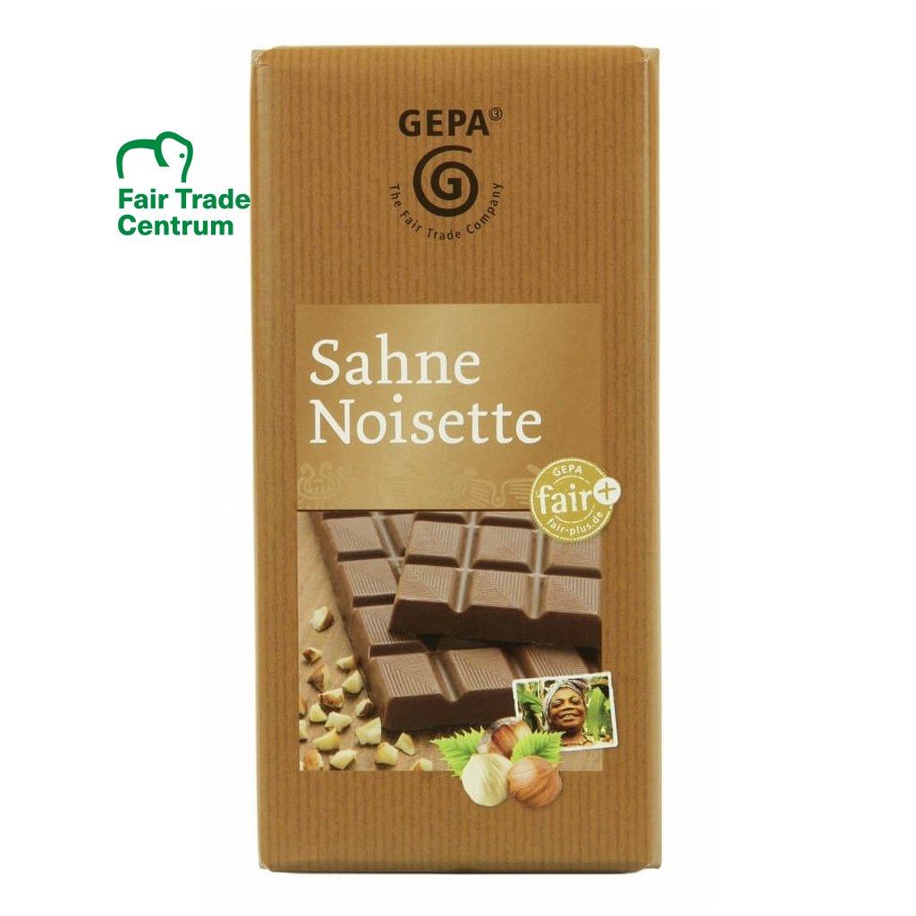 Fair trade mléčná čokoláda s lískovými oříšky a smetanou Gepa