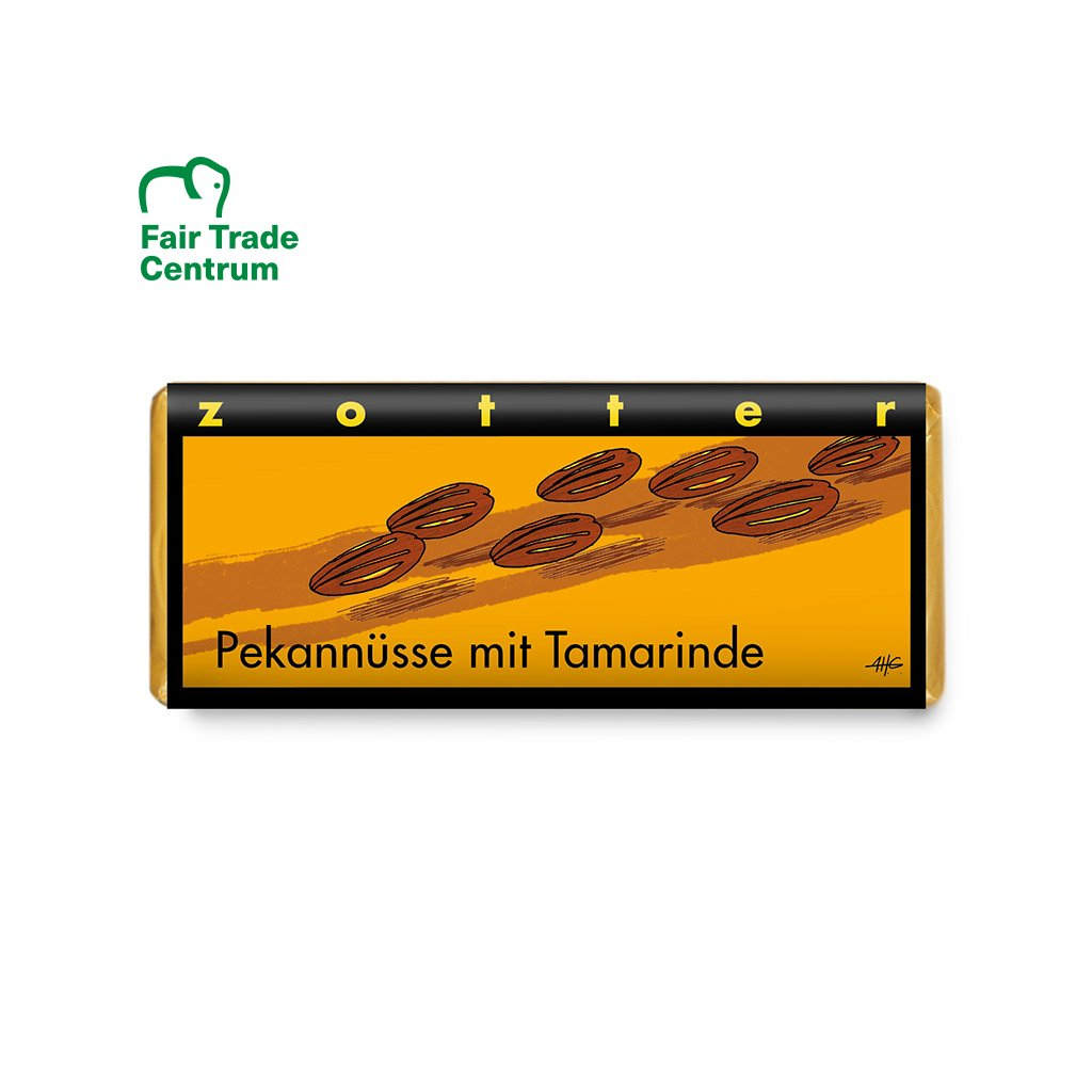 Fair trade bio mléčná čokoláda Zotter Pekanové ořechy s tamarindem