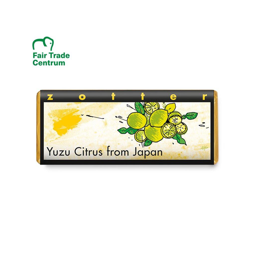 Fair trade bio mléčná čokoláda Zotter Yuzu citrus z Japonska