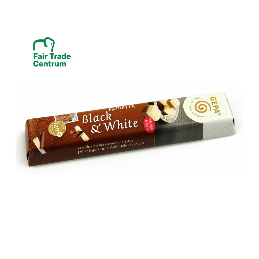 Fair Trade čokoládová tyčinka z bílé a mléčné čokolády