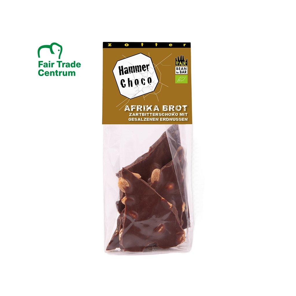 Fair trade bio lámaná hořká čokoláda 60% s arašídy, 100 g