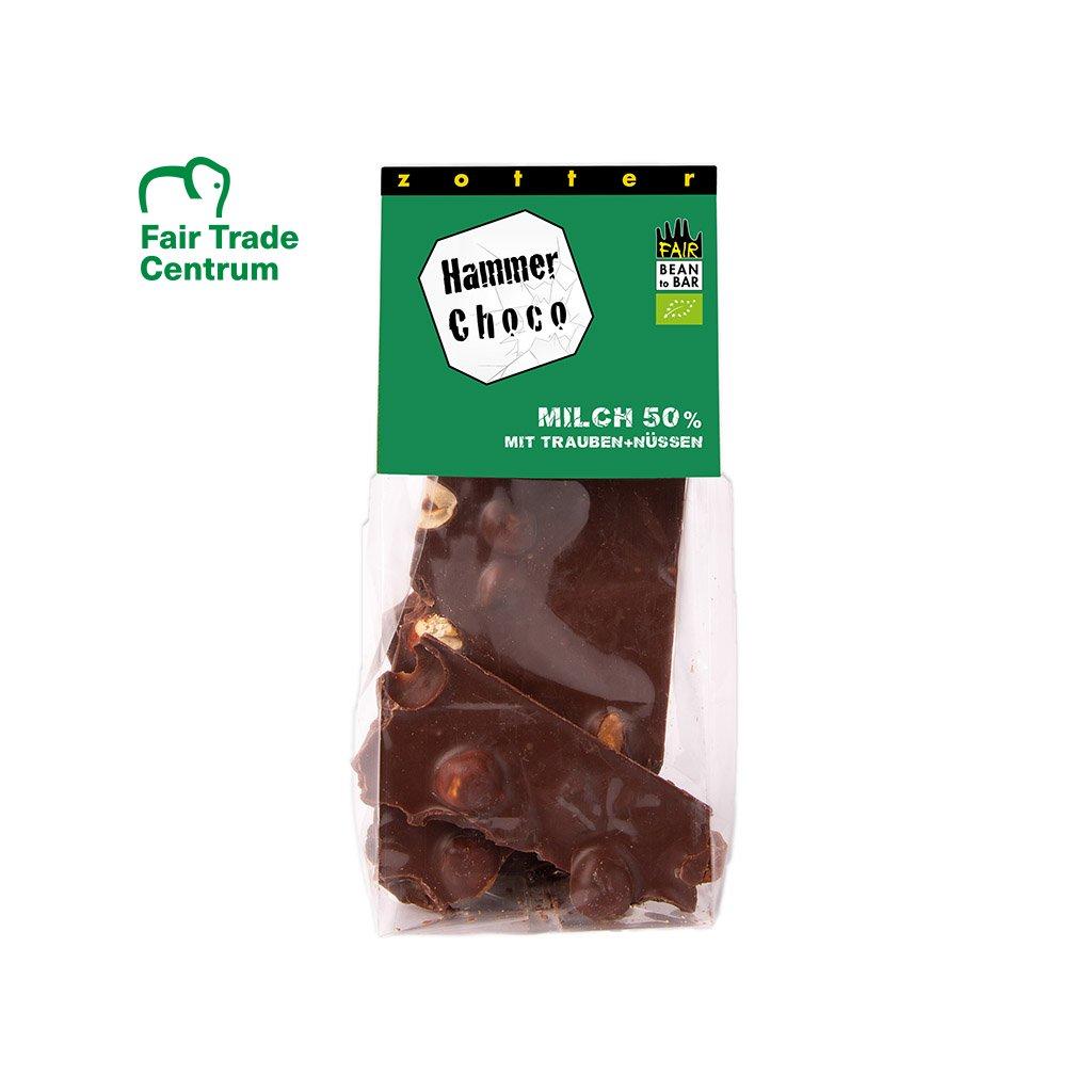 Fair trade bio lámaná mléčná čokoláda 50% s lískovými oříšky a hrozinkami, 100 g