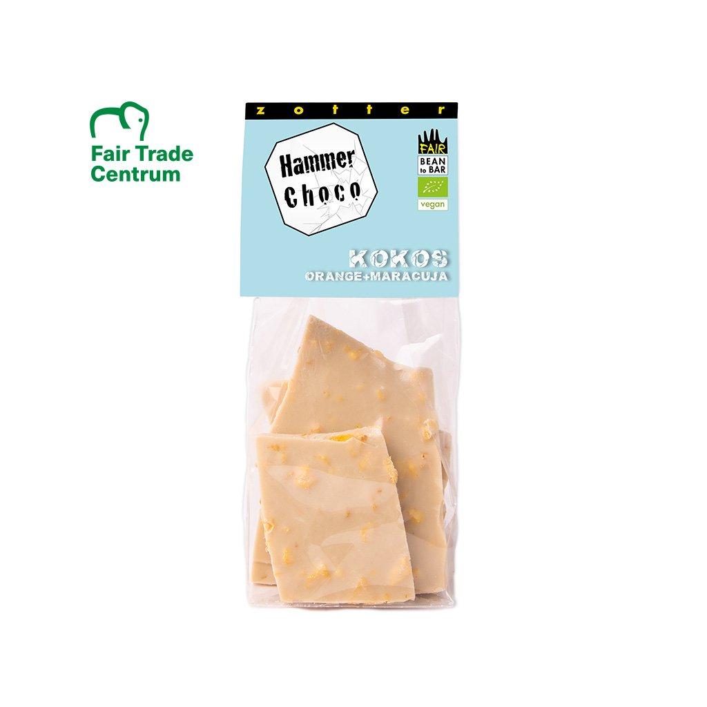 Fair trade bio lámaná vegan kokosová čokoláda s pomerančem a mučenkou, 100 g