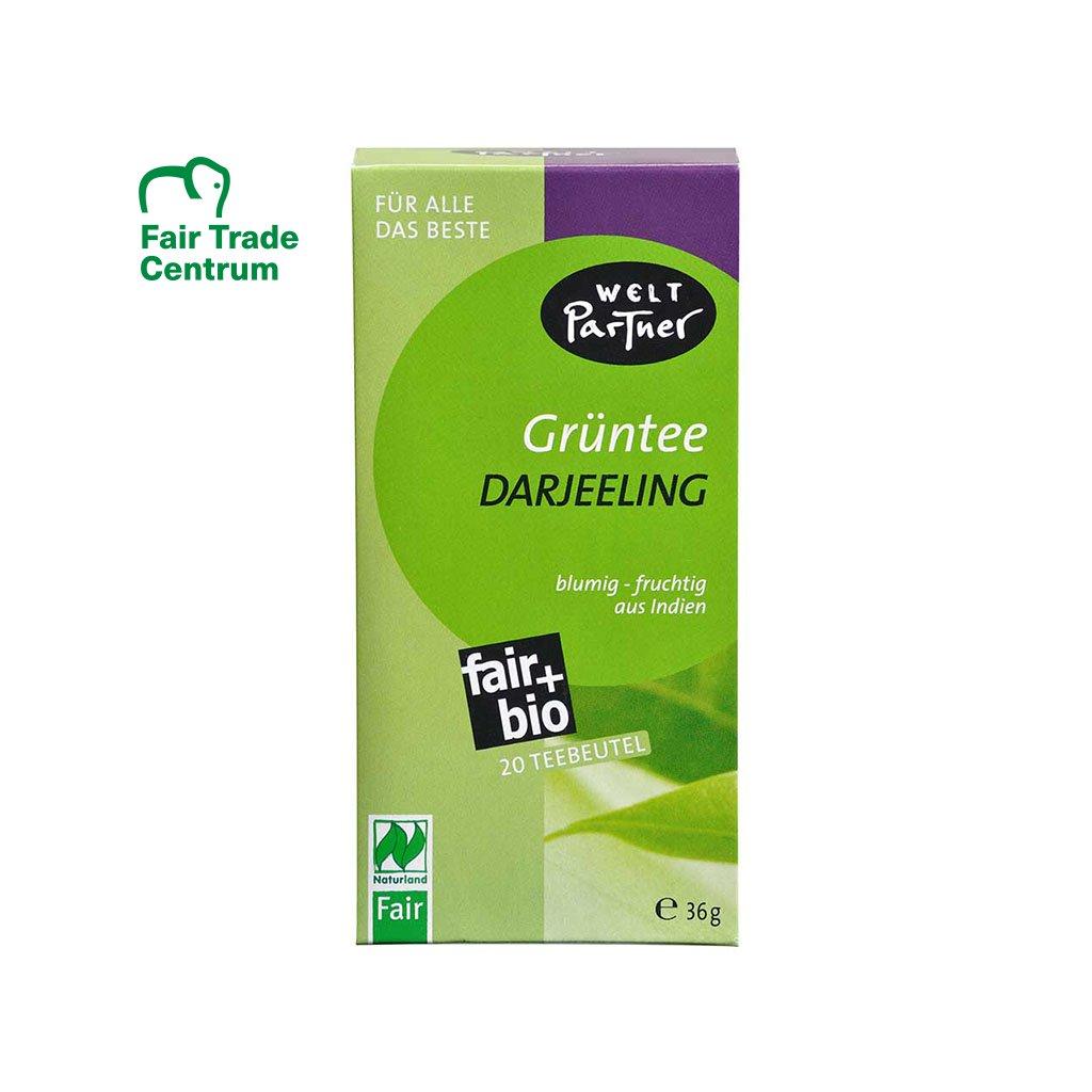 Fair trade bio zelený čaj Darjeeling porcovaný, 20 sáčků