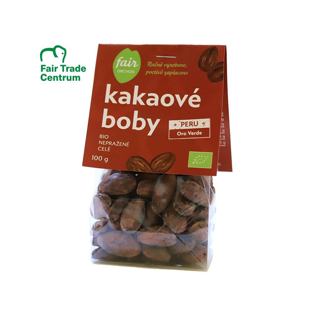 Fair trade bio nepražené kakaové boby celé Peru Oro Verde, 100 g