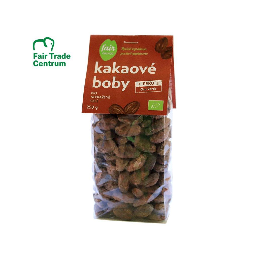 Fair trade bio nepražené kakaové boby celé Peru Oro Verde, 250 g