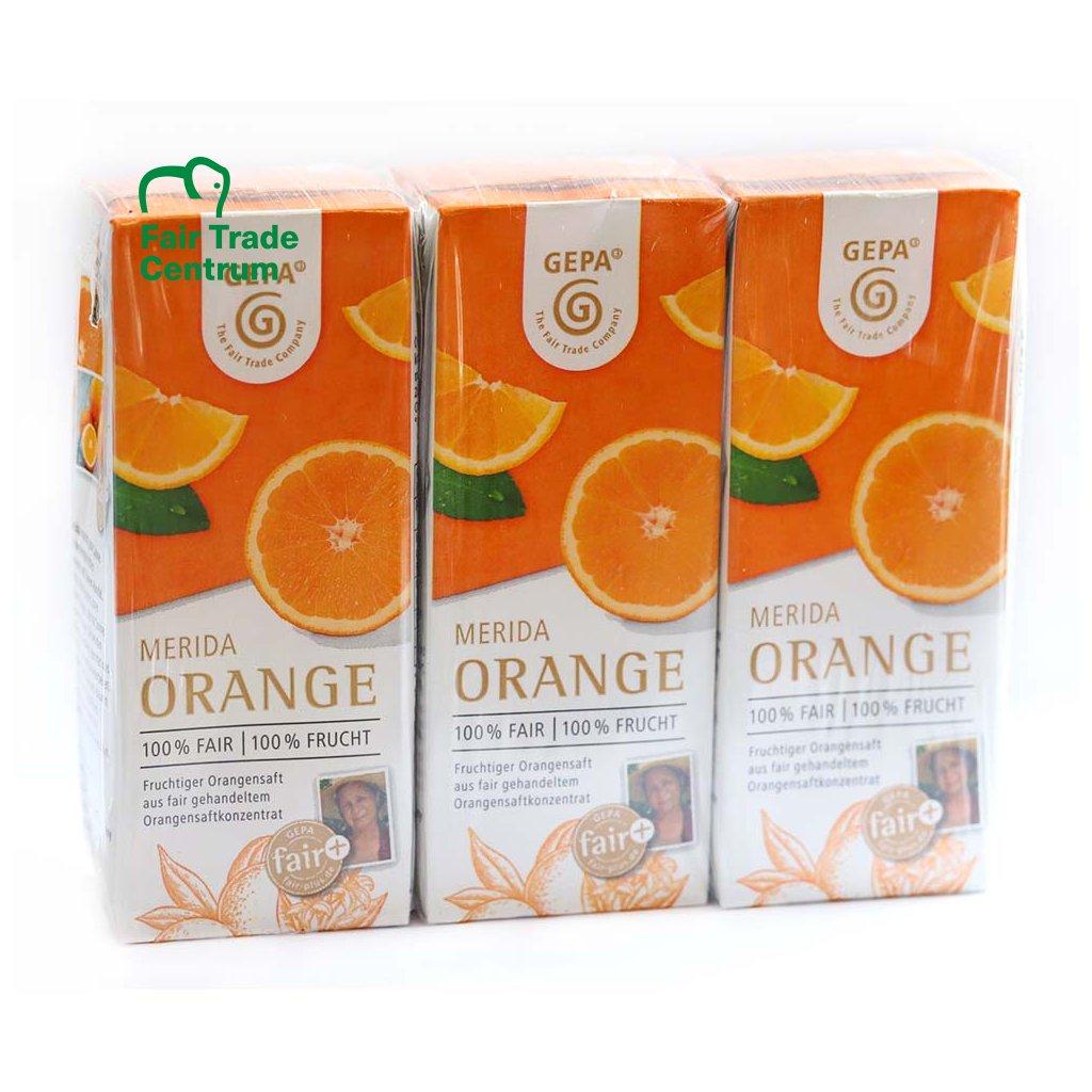 Pomerančová šťáva 100% z Brazílie, 3 x 200 ml