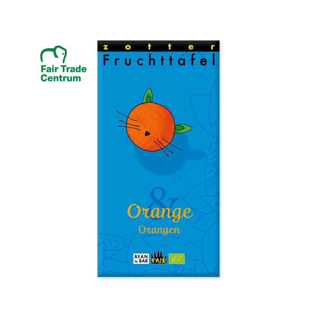 Fair trade bio pomerančová čokoláda Zotter s pomerančem